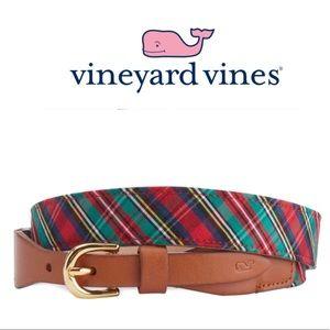 Vineyard Vines Leather/Tartan Plaid Belt